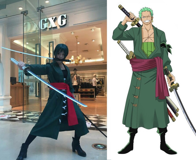 Anime One Piece Roronoa Zoro Cosplay Costume Green Uniform Outfit