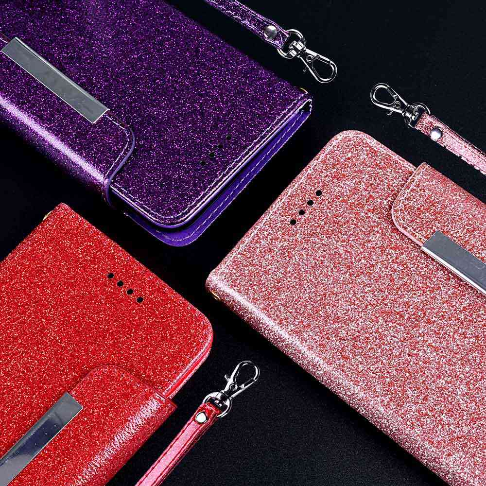 Leagoo ため M9 M11 とカードポケットキックスタンドとストラップ 3D カラフルなダイヤモンド光沢電話フリップケースノック