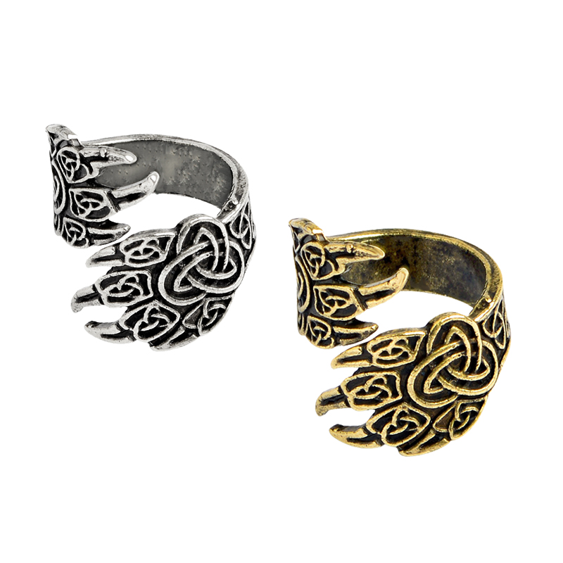 Retro Bear Claw Eagle Claw Ancient Silver Bronze Ring Viking Nordic Adjustable Animal Paw Print Pet Myth Male Rings jewelry gift(China)