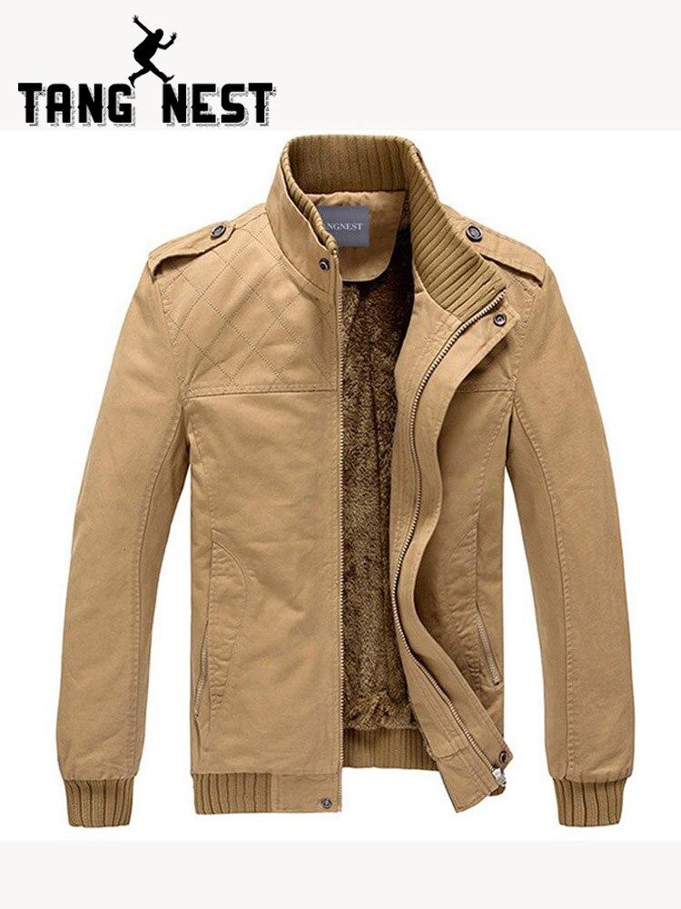 TANGNEST Populaire 2019 Nouveau Hommes Veste Plus De Velours Couleur Unie Top Qualité Veste Hommes Hiver Chaud Veste Asiatique Taille 3XL MWJ193