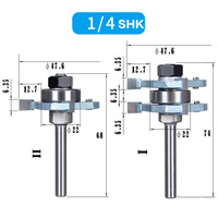 2pcs Set 1 4 Inch Shank T Handle Rail And Stile Router Bit Wood Working Cutter