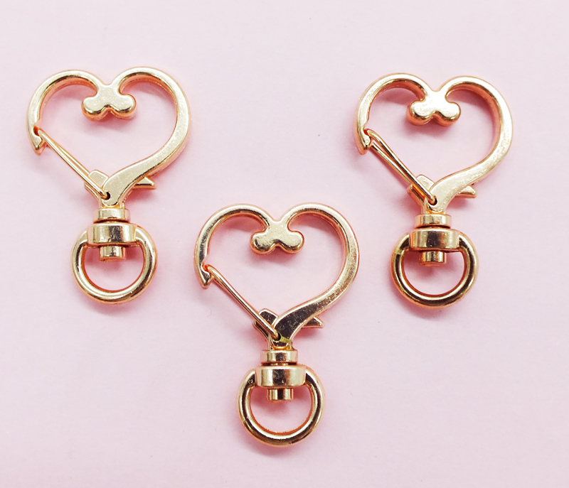 Hot Sale 24X34MM Love High Quality Zinc Alloy Carabiner Swivel Clasps For Key Ring Key Chain