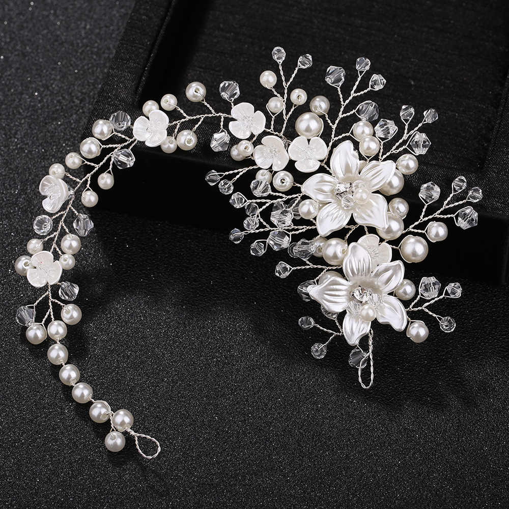 KMVEXO Ceramic Flowers Wedding Headbands for Bride Crystal Pearls Women Hairpins Bridal Headpiece Hair Jewelry Accessories 2019