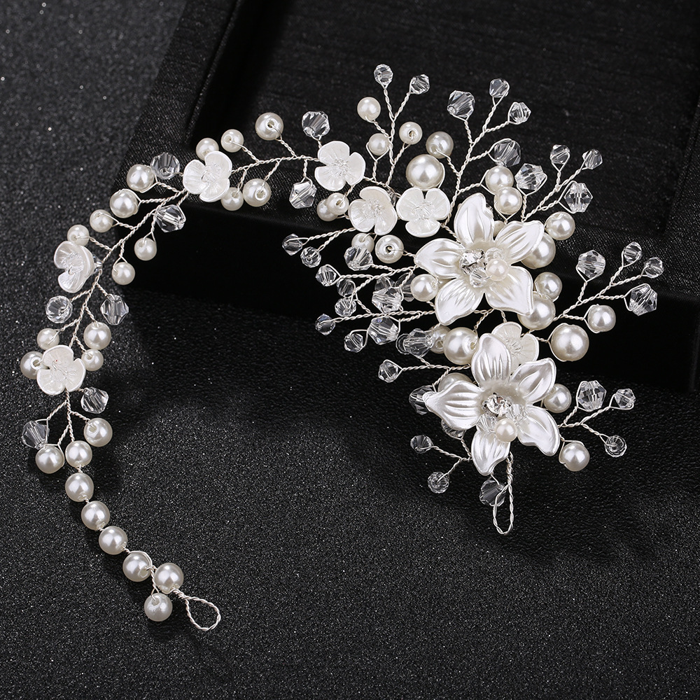 KMVEXO Ceramic Flowers <font><b>Wedding</b></font> Headbands <font><b>for</b></font> Bride Crystal Pearls Women Hairpins Bridal <font><b>Headpiece</b></font> <font><b>Hair</b></font> Jewelry <font><b>Accessories</b></font> 2019 image