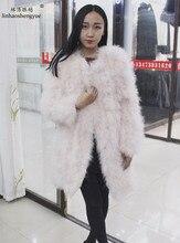 Linhaoshengyue 85cm long  Ladies fashion long ostrich wool coat   freeshipping 2017 NEW
