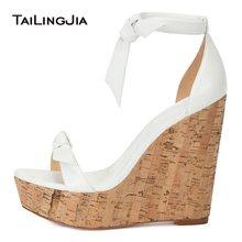 Open Toe Cork Wedge Sandals White Platforms Elegant Heeled Bridal Wedding Shoes Women Extremely High Heels Ladies Summer Shoes цены онлайн
