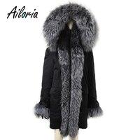 Ailoria бренд 2017 Одежда высшего качества зимние Для женщин натуральным лисьим Мех животных Пальто для будущих мам с капюшоном 100% из натурально