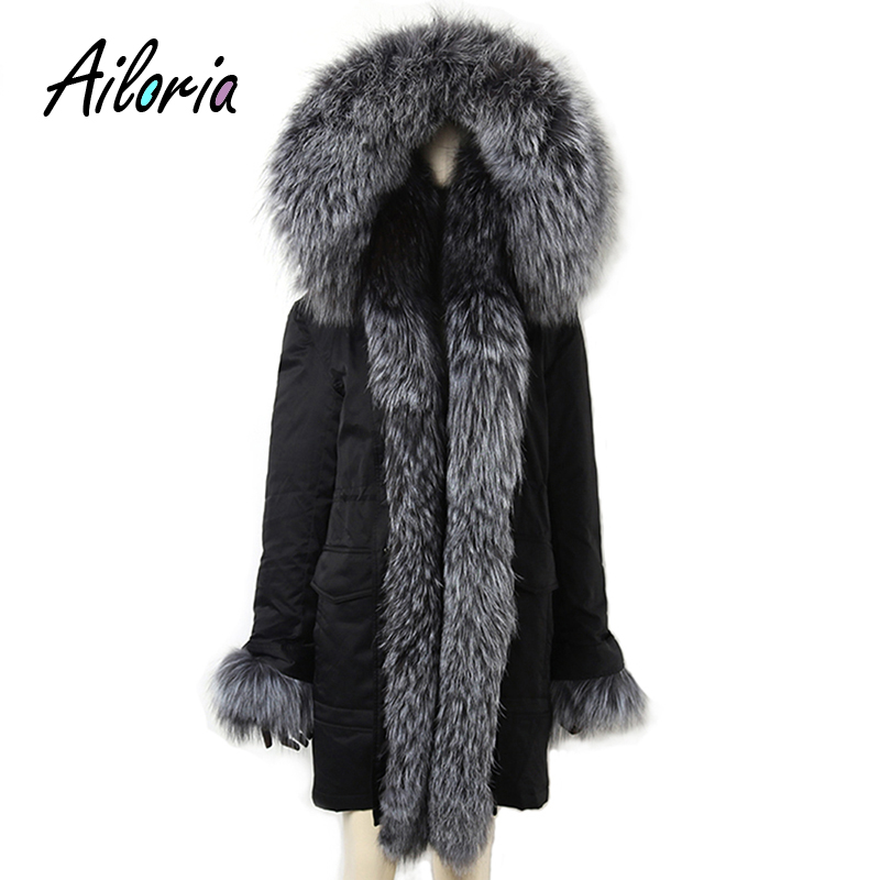 Ailoria Brand 2017 Top Quality Winter Women Real Fox Fur Coats hooded 100% Genuine Natural Fox Fur Jackets lady's Parka