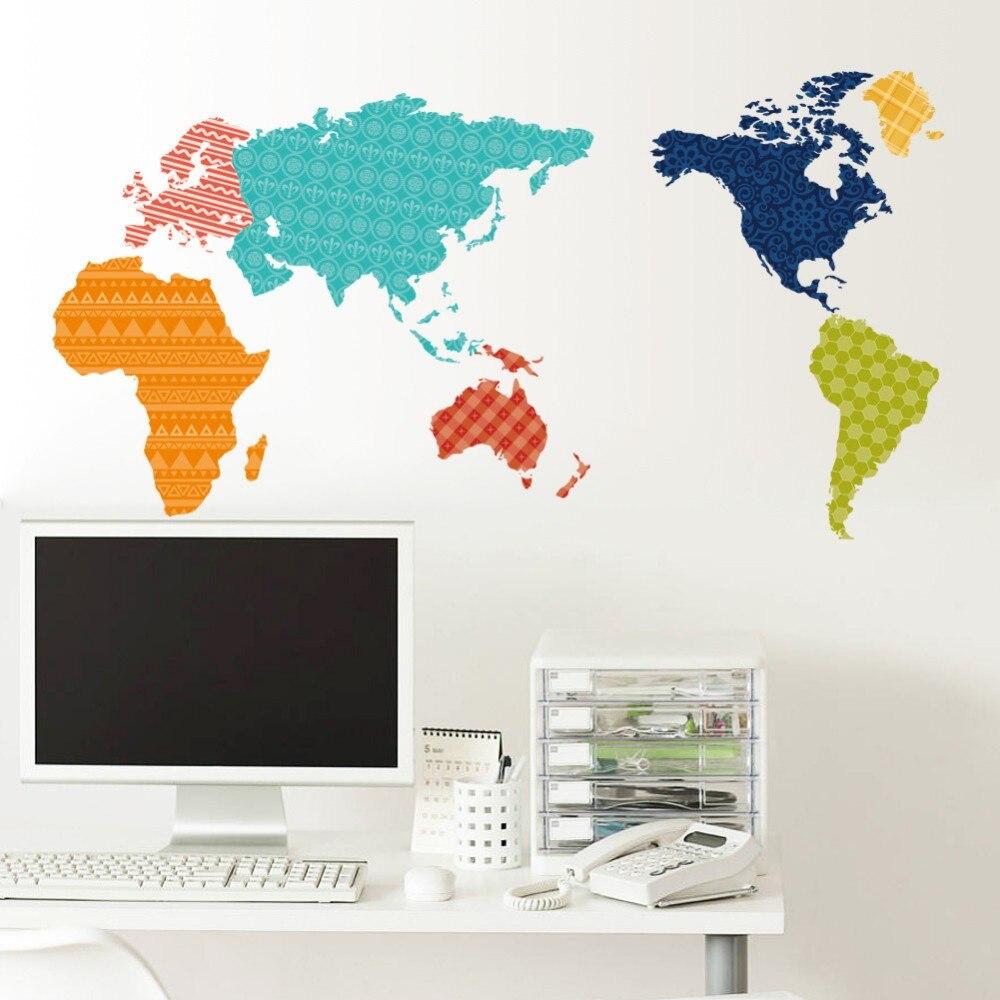 En gros 10 pcs/Pack motif coloré carte du monde Stickers muraux amovibles enfants décalcomanies bureau décor Art