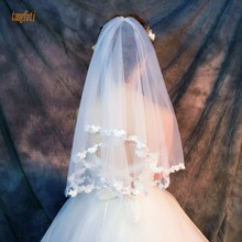 Однослойная 1,5 м короткая свадебная фата для невесты маленькая бабочка с аппликацией по краям Женские аксессуары свадебная фата цвета слоновой кости