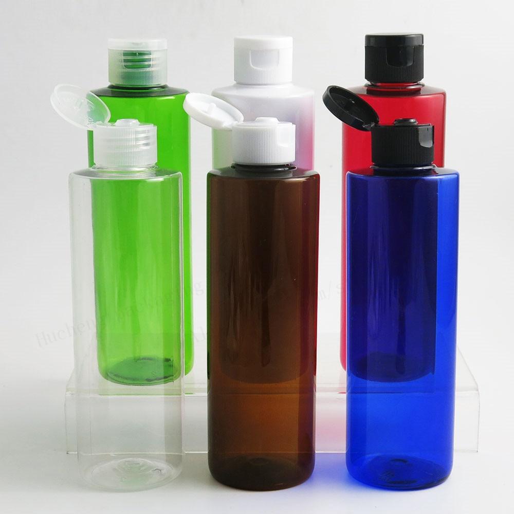 20 X  Empty Refillable  Blue Amber Green Pet Bottle With Flip Top Cap 250ML PET Shampoo Bottle 250ml  Green Plastic Container