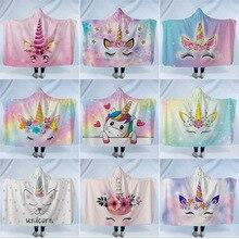 Unicorn Hooded Blanket For Home Travel Picnic Cartoon 3D Printed Soft Fleece Wearable Warm Throw Adults Kids