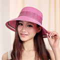 New Brand Wide Brim Summer Hats for Women 2016 Fashion Floppy Cap Women Sun Hat Bowknot Foldable Women Straw Hat with String Bow