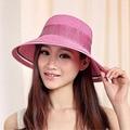 Nueva Marca de Ala Ancha Floppy Sombreros de Verano para Las Mujeres 2016 de La Manera Cap Mujeres Sol Sombrero Bowknot Mujer Plegable Sombrero de Paja con una Cuerda arco