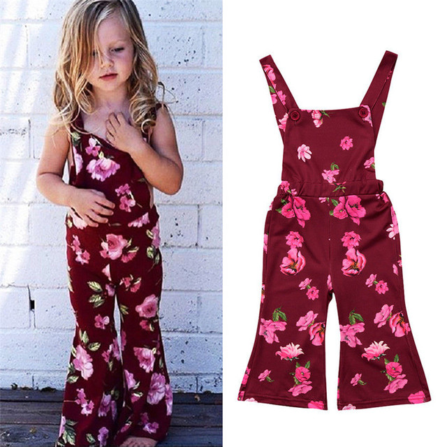 a1c186596 2018 children s clothing girls jumpsuit Baby Floral Print Romper ...