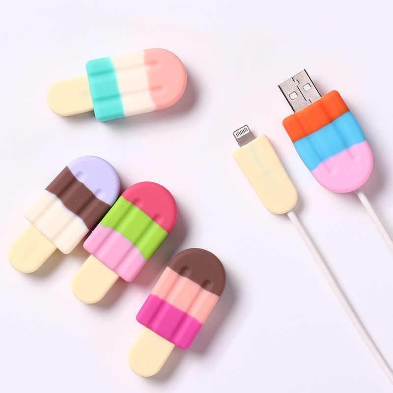Nova linha de dados protetor de cabo usb sorvete proteção cabo de carregamento colorido capa para iphone 5 6 7 8 x proteção luva