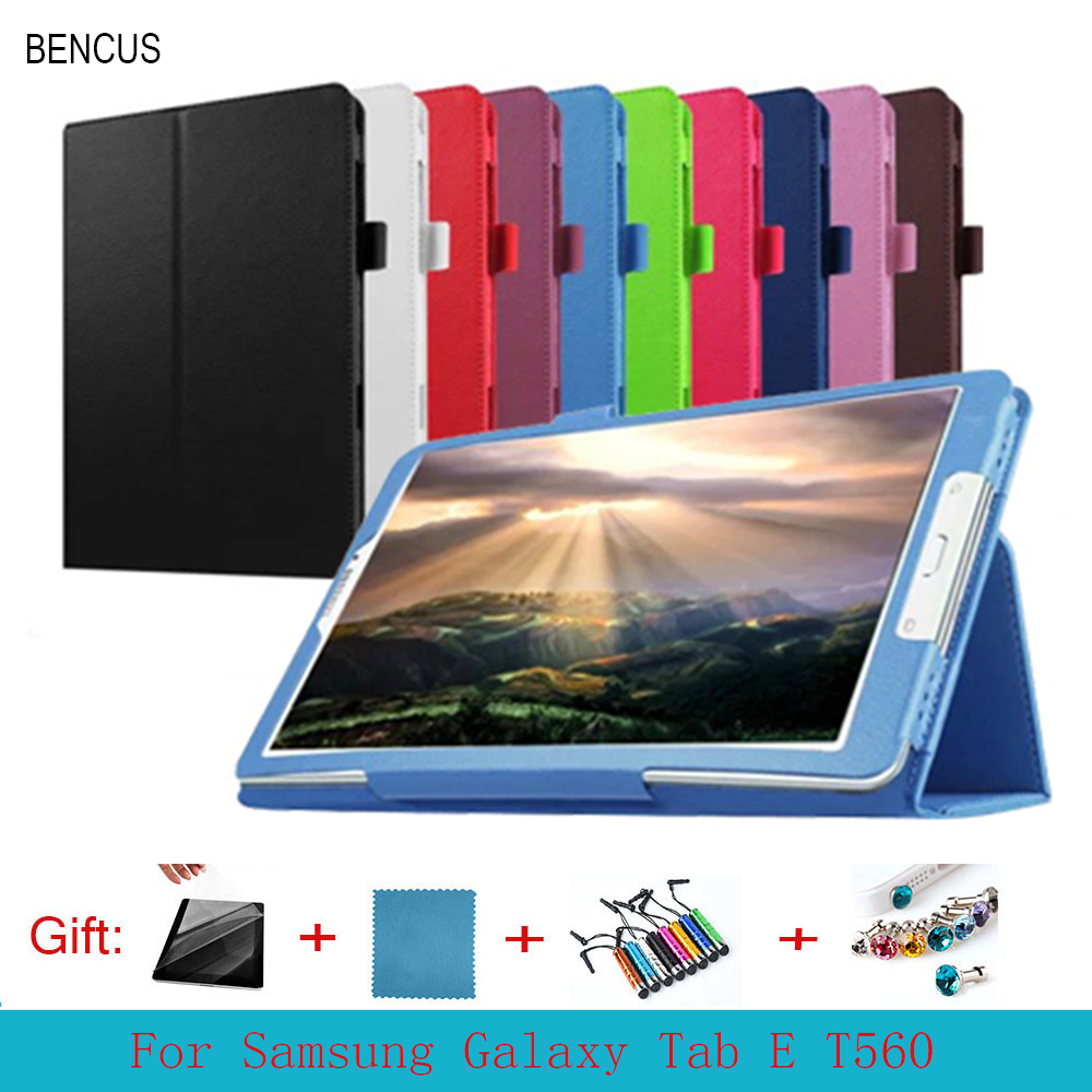 BENCUS Folio Soft Leather Stand Case Cover For Samsung Galaxy Tab E T560 T561 SM-T560 SM-T561 9.6 Tablet case