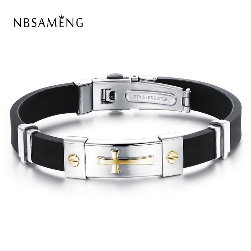 Newest Men Jewelry Black Silicone Rubber Bracelet Silver/Golden Cross Stainless Steel Trendy Men Bracelets Drop Shipping