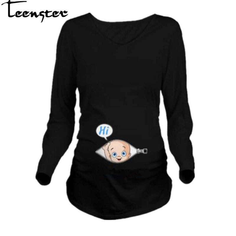 Teenster Maternity Clothes Funny Tops For Pregnant Woman Autumn Long Sleeve T Shirt Cartoon Pregnancy Shirt  Mom Tees Plus
