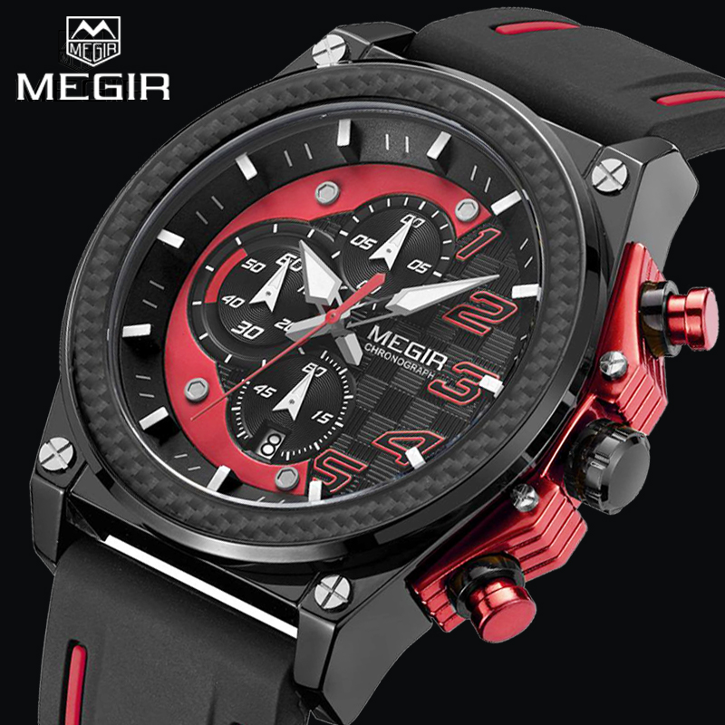 MEGIR Men Fashion Quartz Sport Watch Waterproof Chronograph Auto Date Mens Wristwatch New Male Watches Clock Relogio Masculino 11 11 free shipping adhesive sander back pad sanding machine mat black white for makita 9035