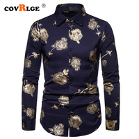Covrlge Mens Long Sleeve Shirt Hot Stamping Rose Shirt Mens Slim Fit Shirt Hight Quality Men Temperament Business Shirt MCL222