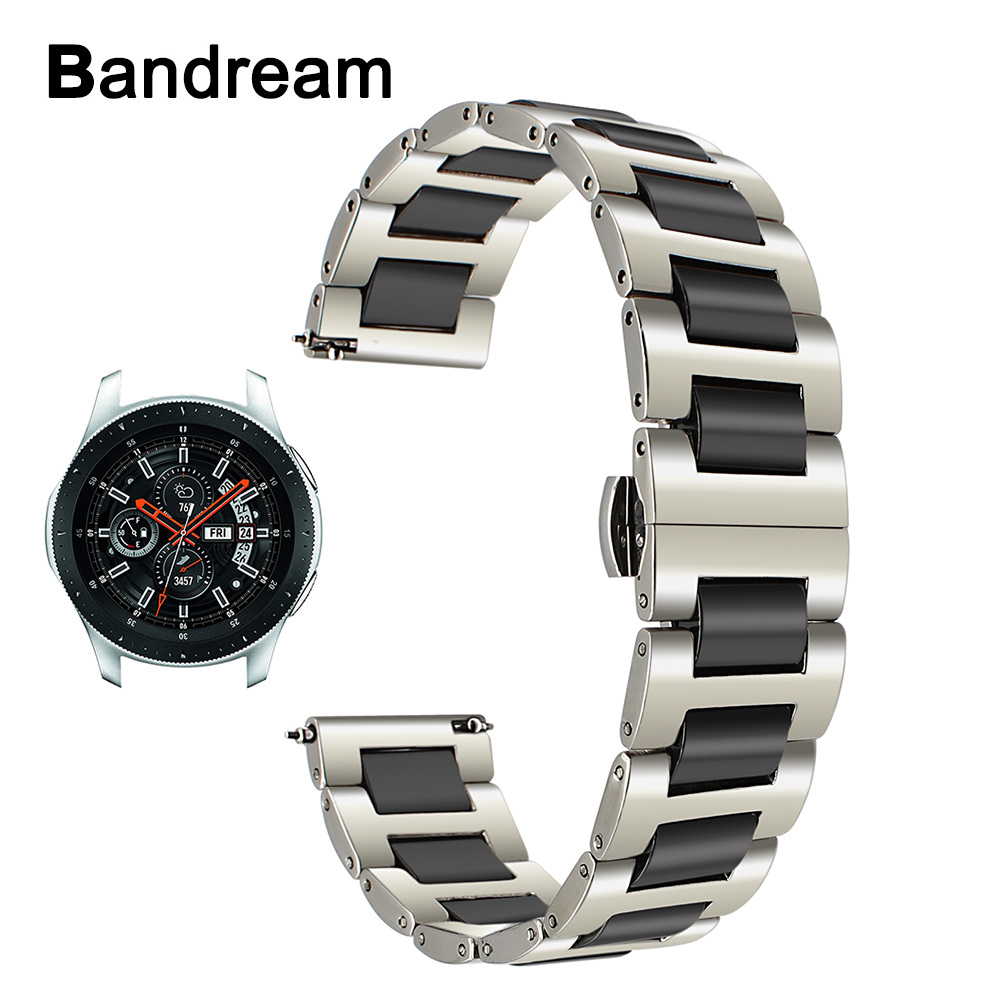 Ceramic + Stainless Steel Watchband 22mm for Samsung Galaxy Watch 46mm SM R800 Quick Release Strap Replacement Band Wrist Belt