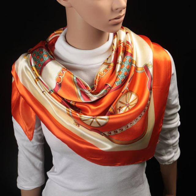 6 Styles 90cm*90cm 2016 Big Size Silk Square Scarf Women Fashion Brand High Quality Imitated Silk Satin Scarves Polyester Shawl