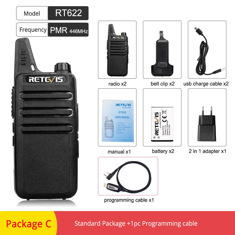 US $22 11 31% OFF|2pcs Retevis RT622 RT22 Mini Walkie Talkie PMR Radio  PMR446 FRS UHF Two Way Radio Portable VOX USB Charging Handheld  Transceiver-in