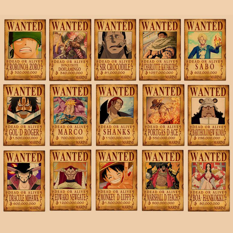 One Piece  Action Figure Bounty Poster Craft Print Wall Sticker Vintage Movie Playbill Luffy Stickers One Piece Wallpaper Gifts