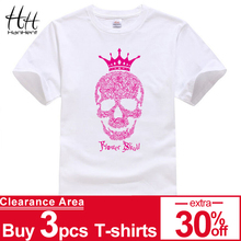 HanHent King Flower Skull T shirt Shining Couples Summer Crown Printed T-shirt Men brand Graphics Tees 2018 Fashion Trend