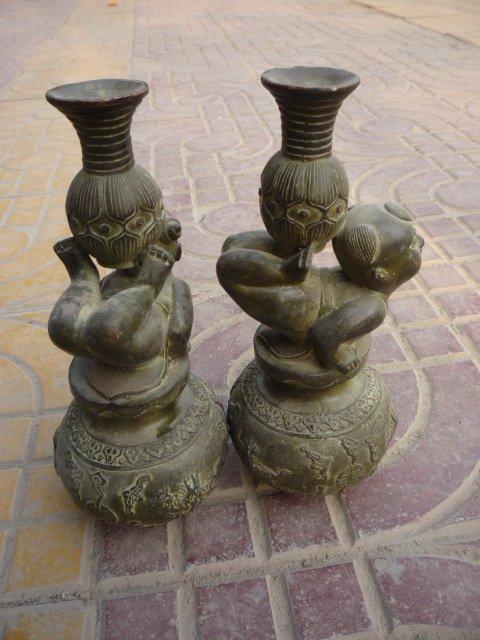 Редкий старый QingDynasty пара бронзовых ламп, замечательная резьба, с маркой, лучшая коллекция и украшение