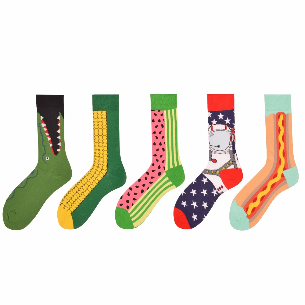 Adult Size 1Lot=5Pairs Crew Socks Crocodile Watermelon Hot Dog Animal Food Fruits Corn Space Astronaut Lucky Suit Sox By Set