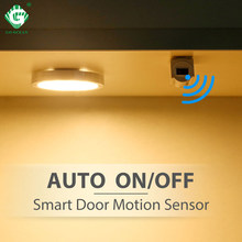 Smart Door Sensor Under Cabinet Light 2.5W 12V Motion Sensor Switch Lamp Wardrobe Closet Wardrobe LED Puck Lights Night Lighting(China)