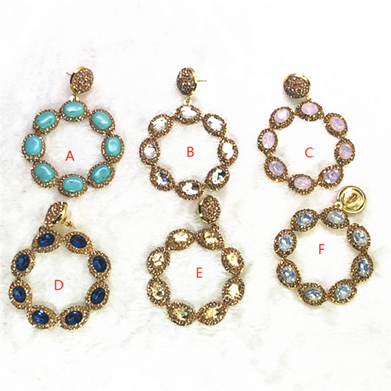 Fashion Big Jewelry Flower Earrings Pave Rhinestone Mix Color Crystal Earrings Gift For Lady Natural Stone Earrings