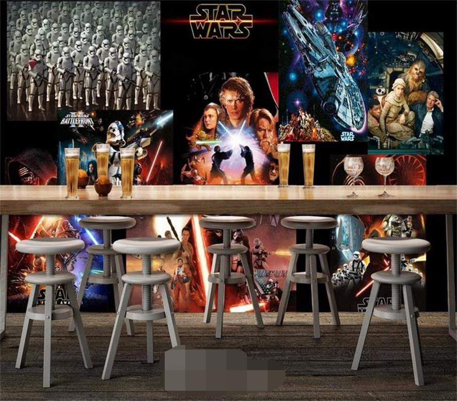 3d room mural wallpaper Classic Star Wars movie photo painting custom non-woven Sticker TV background wall wallpaper for wall 3d 3d wallpaper custom mural non woven wall sticker black and white wood road snow tv setting wall painting photo wallpaper for 3d