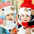 Inverno do bebê chapéus cachecol set urso encantador dos desenhos animados boy girl listrado De Lã Chapéus Gorros Bebê Recém-nascido Manter Chapéu Morno Cachecol Twinset