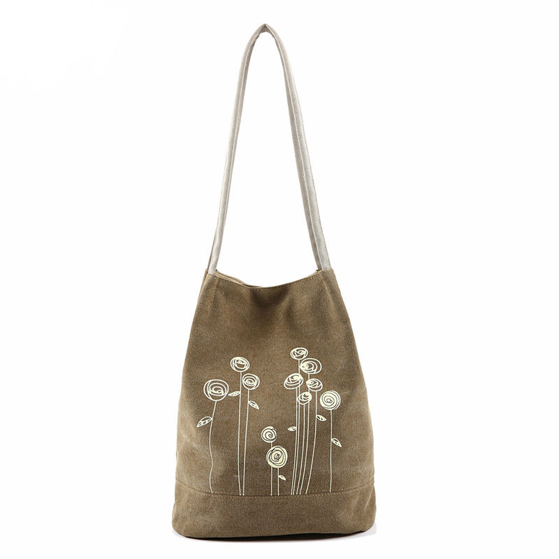 Bolso de hombro del verano bolsa de cubo de lona bolsos de las mujeres casual de