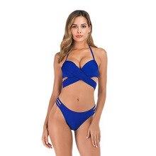 2019 Sexy Criss Cross Bandage Bikini Women Swimsuit Push Up Swimwear Halter Bikini Set Beach Bathing Suit Swim Wear lace up tribal print criss cross bikini set