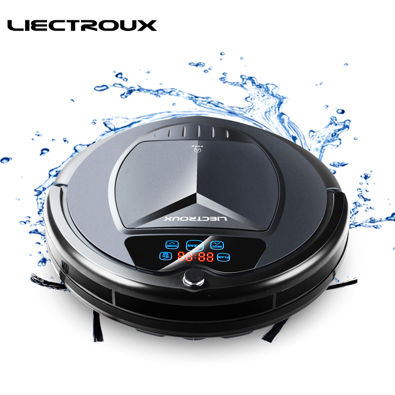 LIECTROUX Robot Vacuum Cleaner B3000Plus LED Touch Screen Self Recharging Suction Outlet Remote Control Anti fall