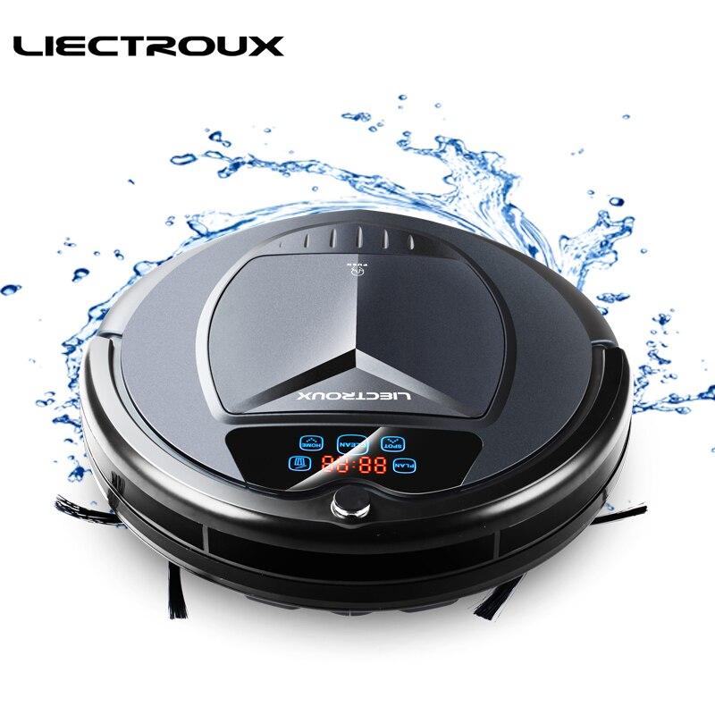 Liectroux robô aspirador de pó b3000 led touch screen auto recarga sucção tomada de controle remoto anti-queda sensor