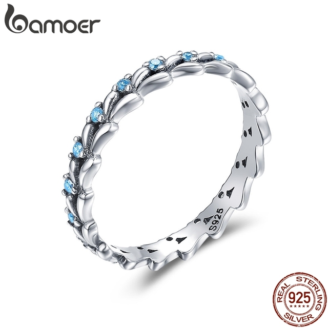 BAMOER Real 100% 925 Sterling Silver Stackable Ring Wheat Wave & Clear CZ Finger