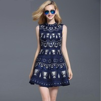 European station hand embroidery new women 's high end big brand official sleeveless retro Jacquard Slim dress w1688