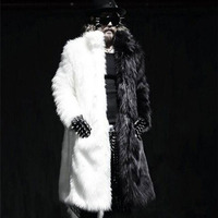 KaLeB 2017 HOT SALE Winter Mens Luxury Faux Fox Fur Black White Match Color Thicken Warm