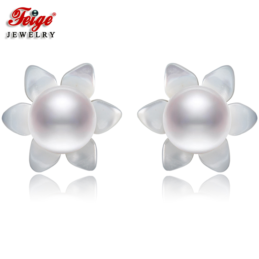 Elegant Flower Shell Natural Pearl Earrings for Women Fine Jewelry Gifts 6-7MM Freshwater Pearls 925 Silver Stud Earring FEIGEElegant Flower Shell Natural Pearl Earrings for Women Fine Jewelry Gifts 6-7MM Freshwater Pearls 925 Silver Stud Earring FEIGE
