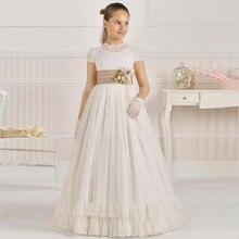 Элегантное платье в пол с цветочным узором для девочек, с поясом цвета шампанского, ТРАПЕЦИЕВИДНОЕ ПЛАТЬЕ с короткими рукавами и кружевным верхом для девочек, платье для первого причастия