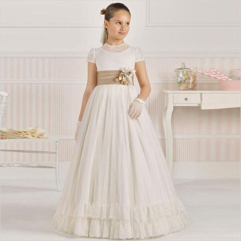 Elegant Floor Length Flower Girl Dresses With Champagne Sash A Line Short Sleeve Lace Top Girl First Communion Dress