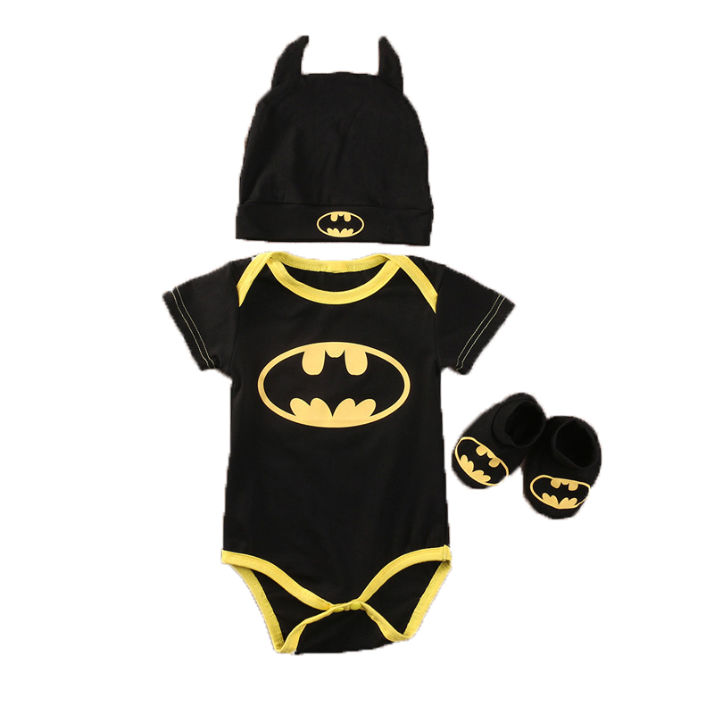 Pudcoco 2017 baby Boys clothes Set Cool Batman Newborn Infant Baby Boys Romper+Shoes+Hat 3pcs Outfits Set Clothes 2pcs set newborn floral baby girl clothes 2017 summer sleeveless cotton ruffles romper baby bodysuit headband outfits sunsuit
