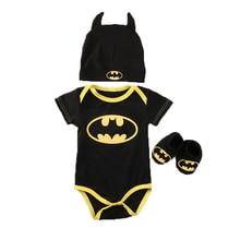 Pudcoco 2017 baby Boys clothes Set Cool Batman Newborn Infant Baby Boys Romper+Shoes+Hat 3pcs Outfits Set Clothes