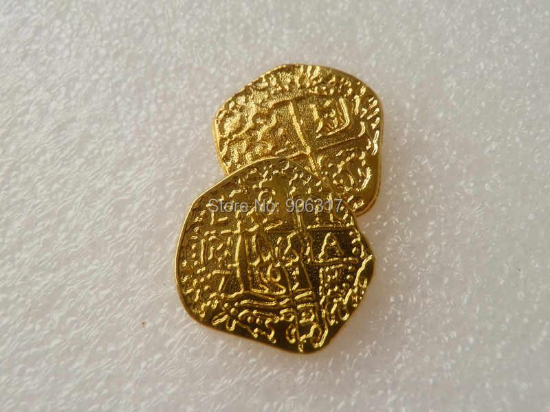 1 Châu Âu Tây Ban Nha Doubloon Đồng Vàng Thuyền Trưởng Cướp Biển Đồ Chơi Đảng Kim Loại Đồng Xu Kho Tàng Trò Chơi Săn