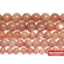 Perles rondes en pierre de soleil naturelle, pêche, pour la fabrication de bijoux, 15 pouces, 6, 8, 10MM